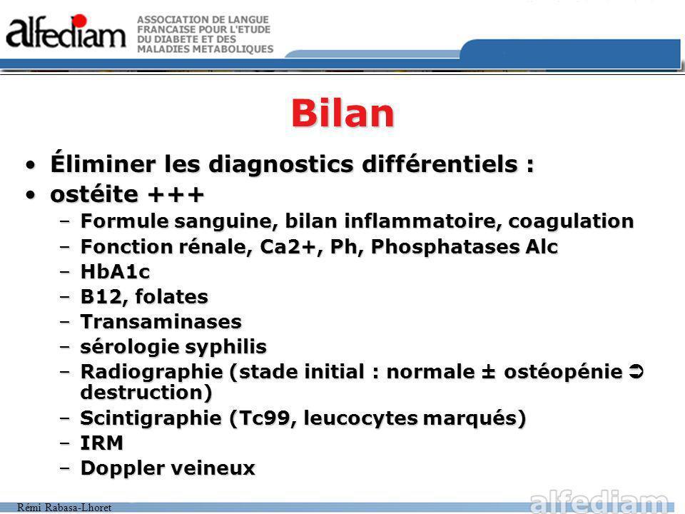 Rémi Rabasa-Lhoret Bilan Éliminer les diagnostics différentiels :Éliminer les diagnostics différentiels : ostéite +++ostéite +++ –Formule sanguine, bi