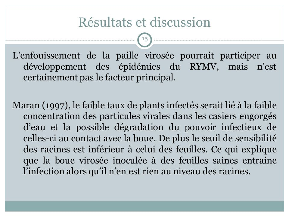 Résultats et discussion Lenfouissement de la paille virosée pourrait participer au développement des épidémies du RYMV, mais nest certainement pas le facteur principal.