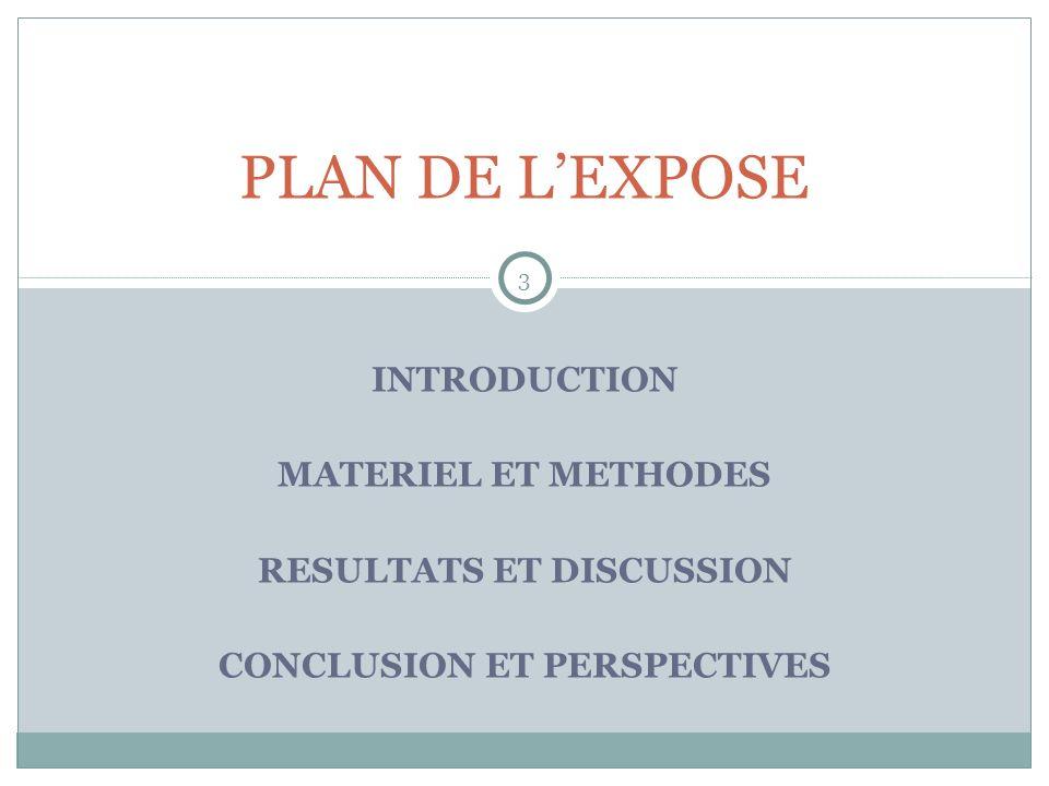 INTRODUCTION MATERIEL ET METHODES RESULTATS ET DISCUSSION CONCLUSION ET PERSPECTIVES 3 PLAN DE LEXPOSE
