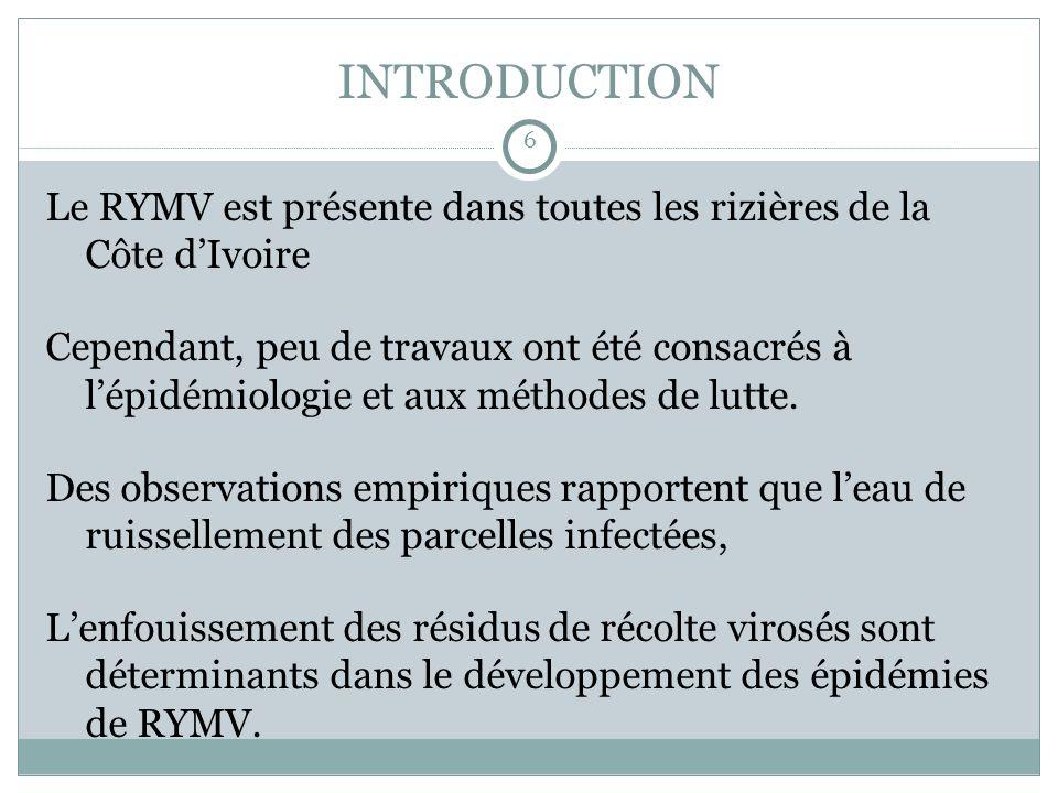 INTRODUCTION Le RYMV est présente dans toutes les rizières de la Côte dIvoire Cependant, peu de travaux ont été consacrés à lépidémiologie et aux méthodes de lutte.