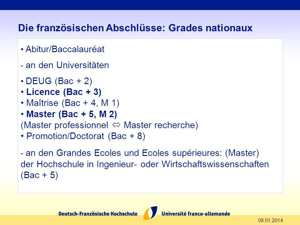 08.01.2014 Die französischen Abschlüsse: Grades nationaux Abitur/Baccalauréat - an den Universitäten DEUG (Bac + 2) Licence (Bac + 3) Maîtrise (Bac +