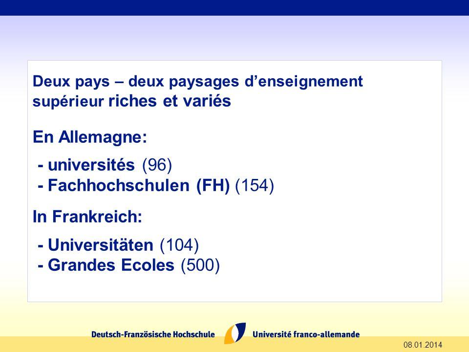 08.01.2014 Deux pays – deux paysages denseignement supérieur riches et variés En Allemagne: - universités (96) - Fachhochschulen (FH) (154) In Frankre