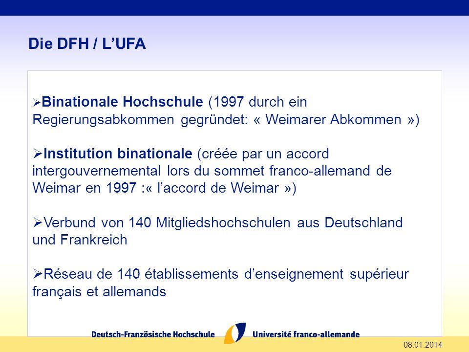 08.01.2014 Die DFH / LUFA Binationale Hochschule (1997 durch ein Regierungsabkommen gegründet: « Weimarer Abkommen ») Institution binationale (créée p
