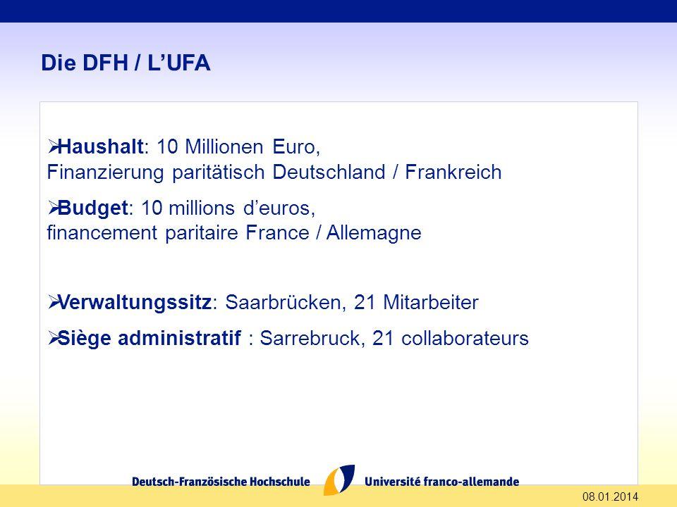 08.01.2014 Die DFH / LUFA Haushalt: 10 Millionen Euro, Finanzierung paritätisch Deutschland / Frankreich Budget: 10 millions deuros, financement parit