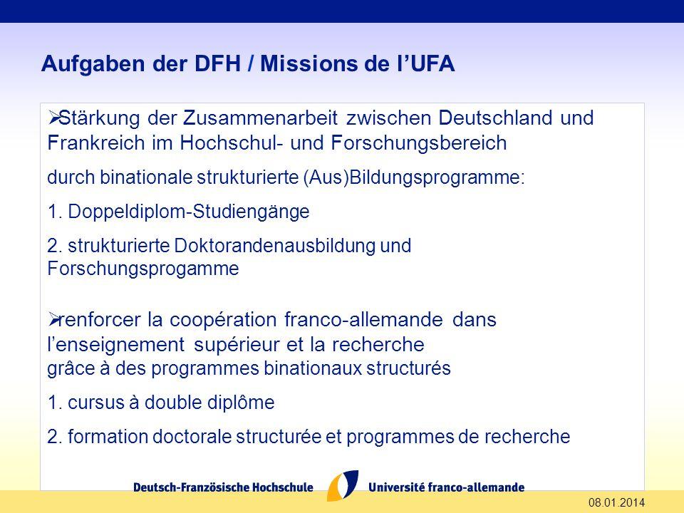 08.01.2014 Aufgaben der DFH / Missions de lUFA Stärkung der Zusammenarbeit zwischen Deutschland und Frankreich im Hochschul- und Forschungsbereich dur