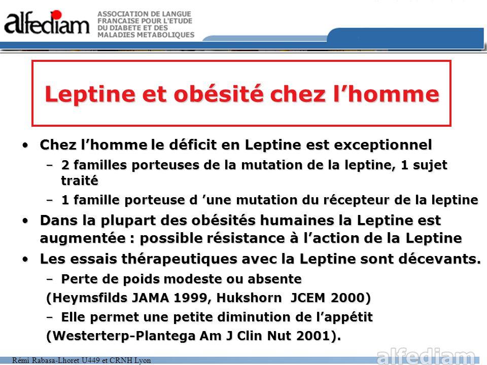 Rémi Rabasa-Lhoret U449 et CRNH Lyon Leptine et obésité chez lhomme Chez lhomme le déficit en Leptine est exceptionnelChez lhomme le déficit en Leptin