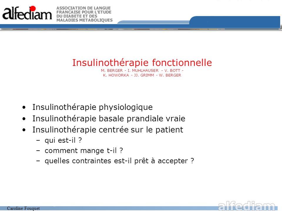 Caroline Fouquet Vivre Intérêt majeur du jeûne glucidique : Base = 0.3 à 0.4 u/kg/j Règle générale : Analogue lente : dose totale quotidienne / 2 Sans dépasser 0.35 u/ kg/ j Sauf si : 1-hypoglycémies sévères récentes (dans l année) ou hypoglycémies modérées1 par jour avec HbA1c < 9% Analogue lente : dose totale quotidienne /2 sans dépasser 0.30 u/ kg/j 2- HbA1c 9% et BMI 26 ou dose quotidienne totale d insuline 0.90 u/ kg/ j Analogue lente : dose totale quotidienne /2 comprise entre 0.40 u /kg/ j minimum et 0.50 u/ kg/ j maximum