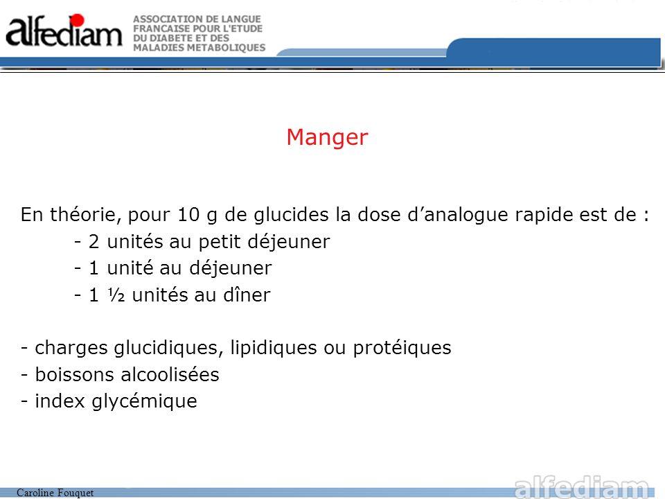 Caroline Fouquet Soigner Une glycémie doit être considérée comme «malade» si elle est 1.20 g/l En théorie : - 1 unité danalogue rapide abaisse la glycémie de 0.30 à 0.40 g/l - 15 g de sucre remontent la glycémie de 0.50 g/l