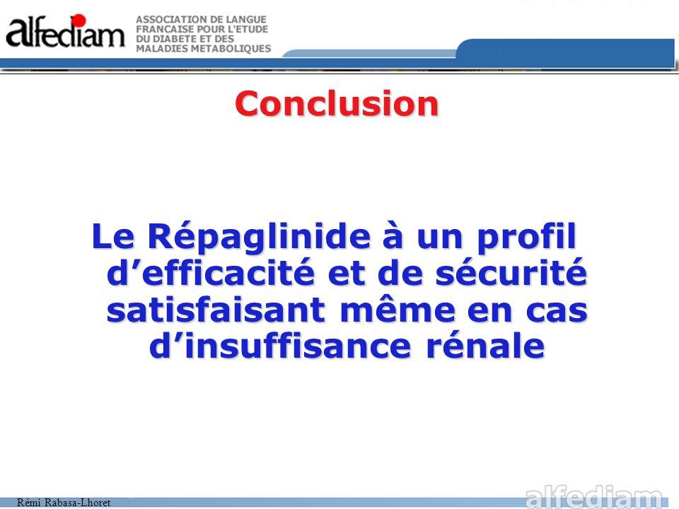 Rémi Rabasa-Lhoret Conclusion Le Répaglinide à un profil defficacité et de sécurité satisfaisant même en cas dinsuffisance rénale