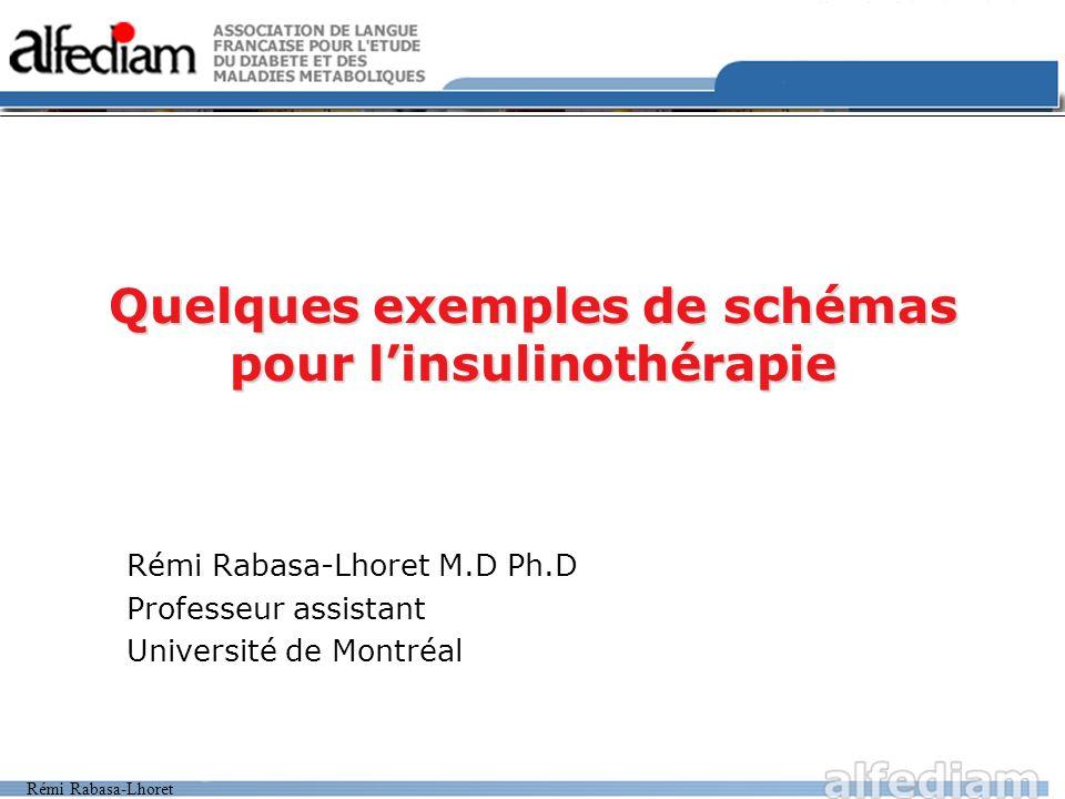 Rémi Rabasa-Lhoret Quelques exemples de schémas pour linsulinothérapie Rémi Rabasa-Lhoret M.D Ph.D Professeur assistant Université de Montréal