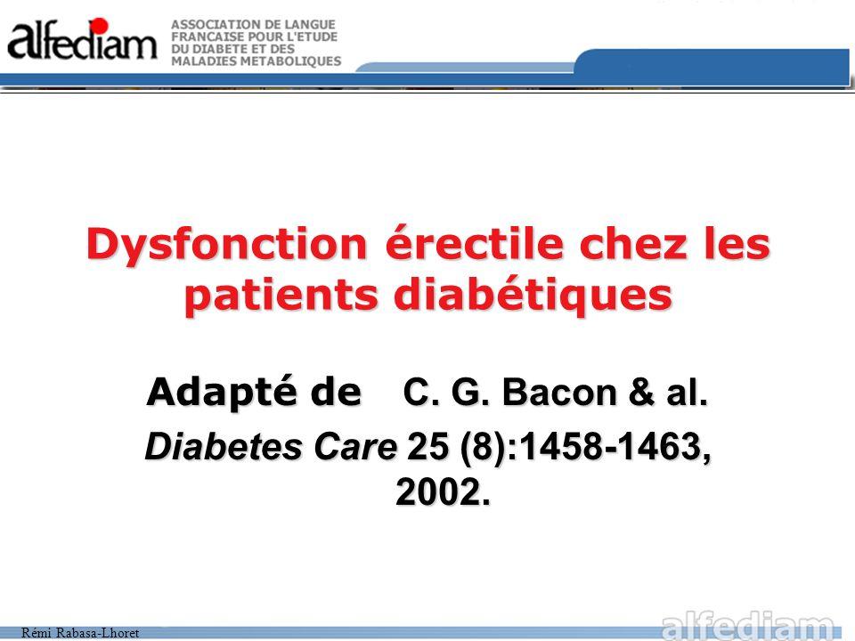 Rémi Rabasa-Lhoret Dysfonction érectile chez les patients diabétiques Adapté de C.