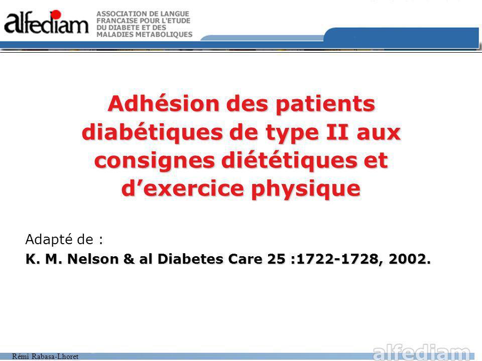 Rémi Rabasa-Lhoret Adhésion des patients diabétiques de type II aux consignes diététiques et dexercice physique Adapté de : K.