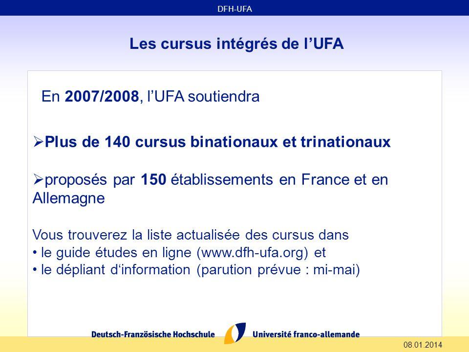 08.01.2014 Les cursus intégrés de lUFA En 2007/2008, lUFA soutiendra Plus de 140 cursus binationaux et trinationaux proposés par 150 établissements en