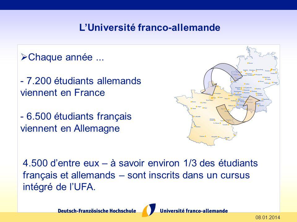 08.01.2014 LUniversité franco-allemande Chaque année... - 7.200 étudiants allemands viennent en France - 6.500 étudiants français viennent en Allemagn