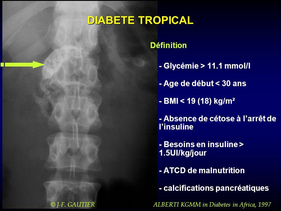 Diagnostic différentiel Diabète de type 1 lent (LADA) MODY 3 (HNF-1 ) MODY 1 (HNF-4 ) MODY 5 (HNF-1 ) Diabète mitochondrial Pancréatopathie