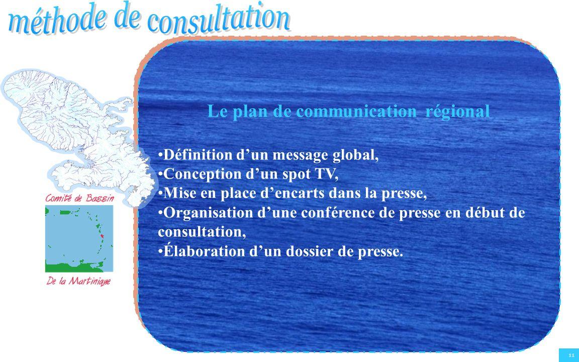 11 Le plan de communication régional Définition dun message global, Conception dun spot TV, Mise en place dencarts dans la presse, Organisation dune conférence de presse en début de consultation, Élaboration dun dossier de presse.