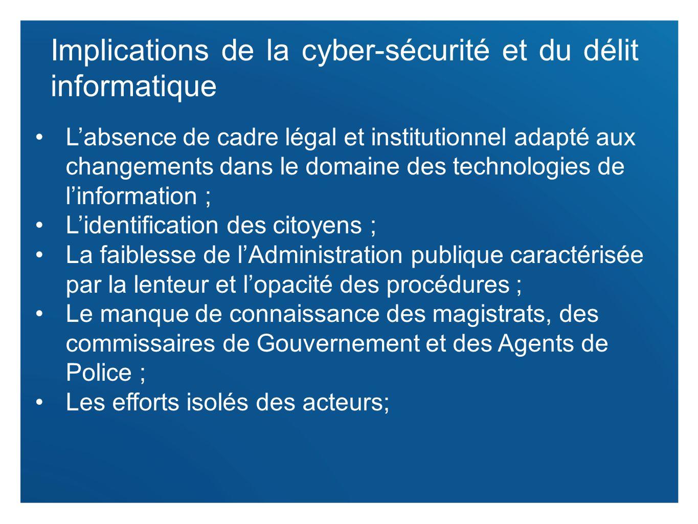 5 Implications de la cyber-sécurité et du délit informatique Labsence de cadre légal et institutionnel adapté aux changements dans le domaine des tech