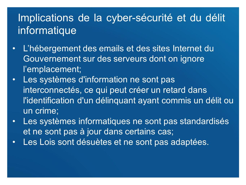 6 Implications de la cyber-sécurité et du délit informatique Lhébergement des emails et des sites Internet du Gouvernement sur des serveurs dont on ig
