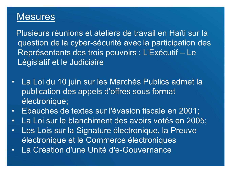8 Mesures Plusieurs réunions et ateliers de travail en Haïti sur la question de la cyber-sécurité avec la participation des Représentants des trois po