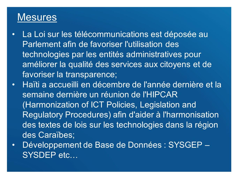 9 Mesures La Loi sur les télécommunications est déposée au Parlement afin de favoriser l'utilisation des technologies par les entités administratives