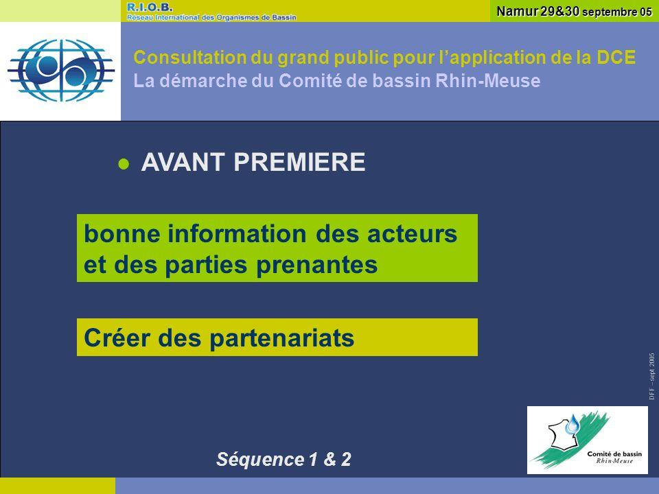 DFF – sept 2005 Consultation du grand public pour lapplication de la DCE La démarche du Comité de bassin Rhin-Meuse AVANT PREMIERE Namur 29&30 septembre 05 bonne information des acteurs et des parties prenantes Créer des partenariats Séquence 1 & 2