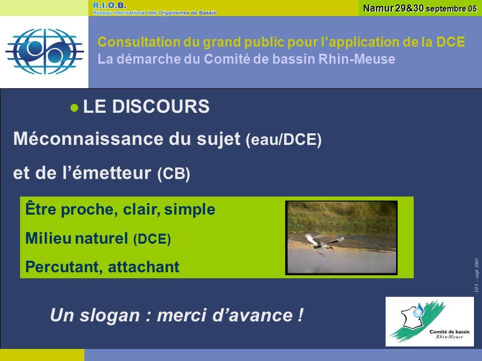 DFF – sept 2005 Consultation du grand public pour lapplication de la DCE La démarche du Comité de bassin Rhin-Meuse Namur 29&30 septembre 05 ET APRES.