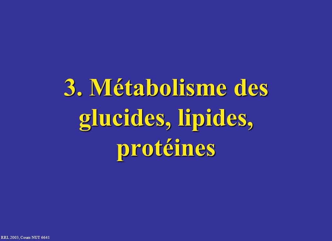 RRL 2003, Cours NUT 6641 3. Métabolisme des glucides, lipides, protéines