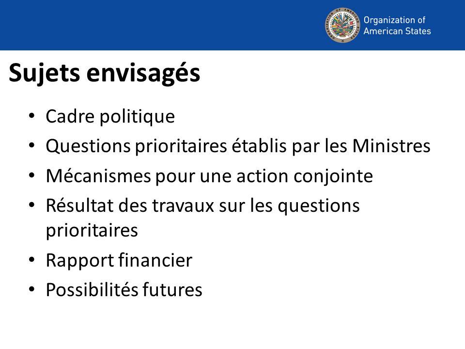 Sujets envisagés Cadre politique Questions prioritaires établis par les Ministres Mécanismes pour une action conjointe Résultat des travaux sur les questions prioritaires Rapport financier Possibilités futures