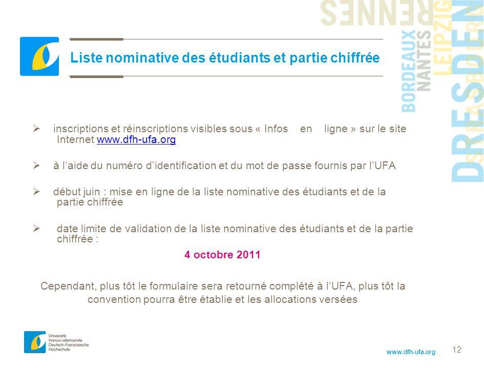 www.dfh-ufa.org 12 Liste nominative des étudiants et partie chiffrée inscriptions et réinscriptions visibles sous « Infos en ligne » sur le site Inter