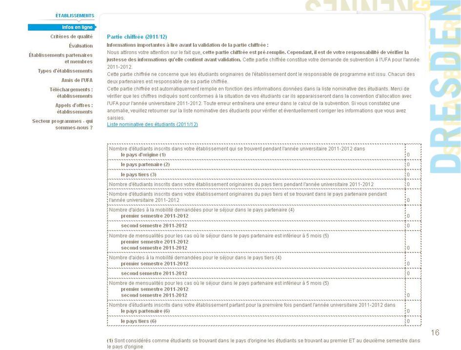 www.dfh-ufa.org 16 Liste nominative des étudiants et partie chiffrée