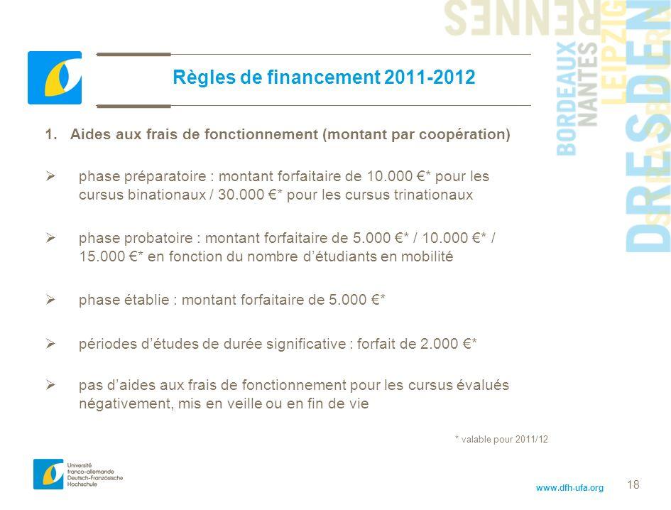 www.dfh-ufa.org 18 Règles de financement 2011-2012 1.Aides aux frais de fonctionnement (montant par coopération) phase préparatoire : montant forfaita