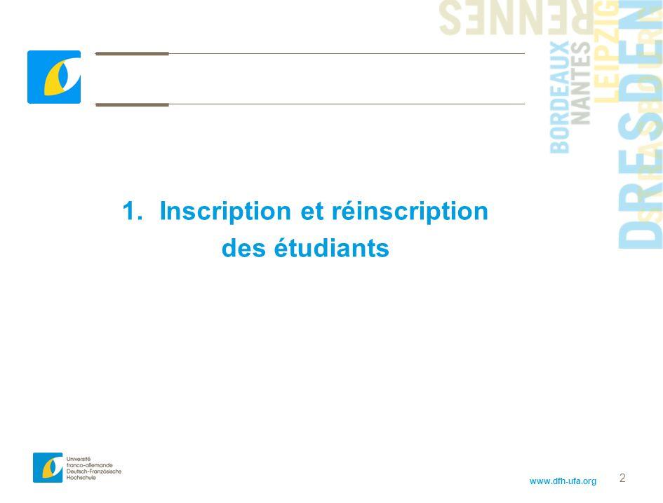 www.dfh-ufa.org 2 1.Inscription et réinscription des étudiants