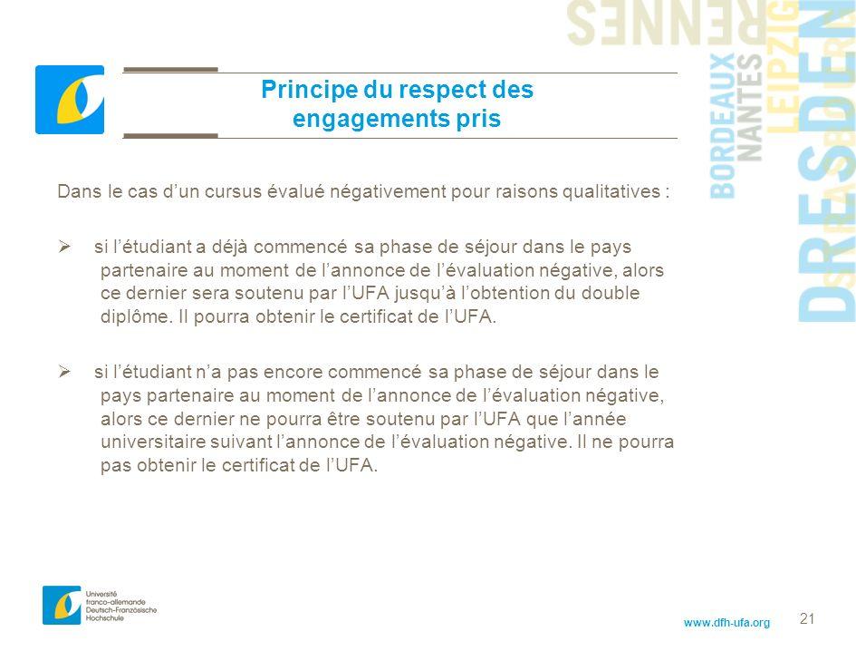 www.dfh-ufa.org 21 Principe du respect des engagements pris Dans le cas dun cursus évalué négativement pour raisons qualitatives : si létudiant a déjà