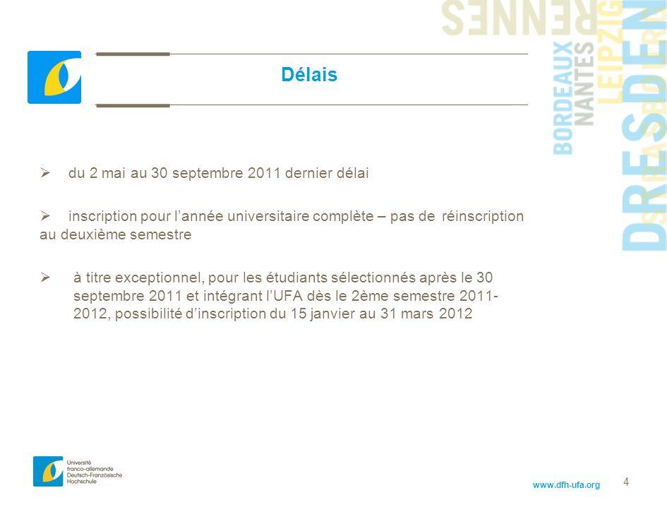 4 Délais du 2 mai au 30 septembre 2011 dernier délai inscription pour lannée universitaire complète – pas de réinscription au deuxième semestre à titr