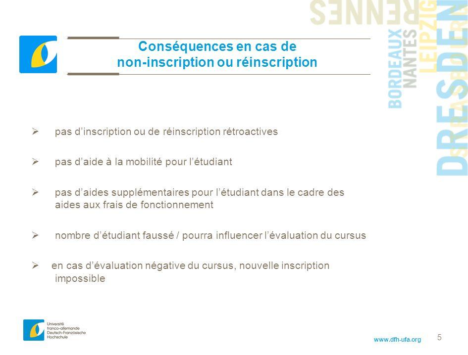 www.dfh-ufa.org 5 Conséquences en cas de non-inscription ou réinscription pas dinscription ou de réinscription rétroactives pas daide à la mobilité po