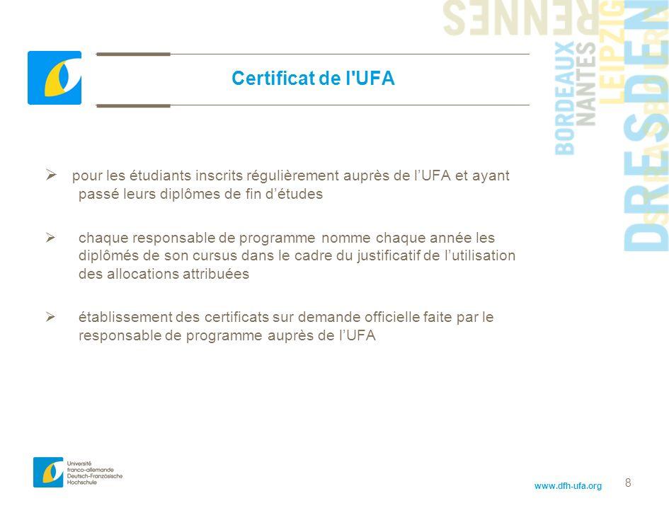 www.dfh-ufa.org 8 Certificat de l'UFA pour les étudiants inscrits régulièrement auprès de lUFA et ayant passé leurs diplômes de fin détudes chaque res