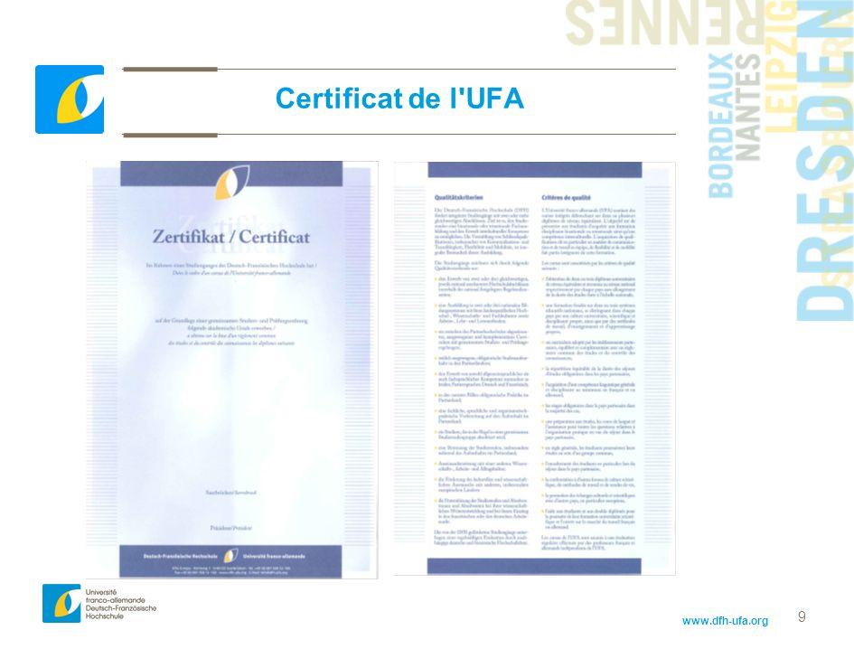 www.dfh-ufa.org 9 Certificat de l'UFA