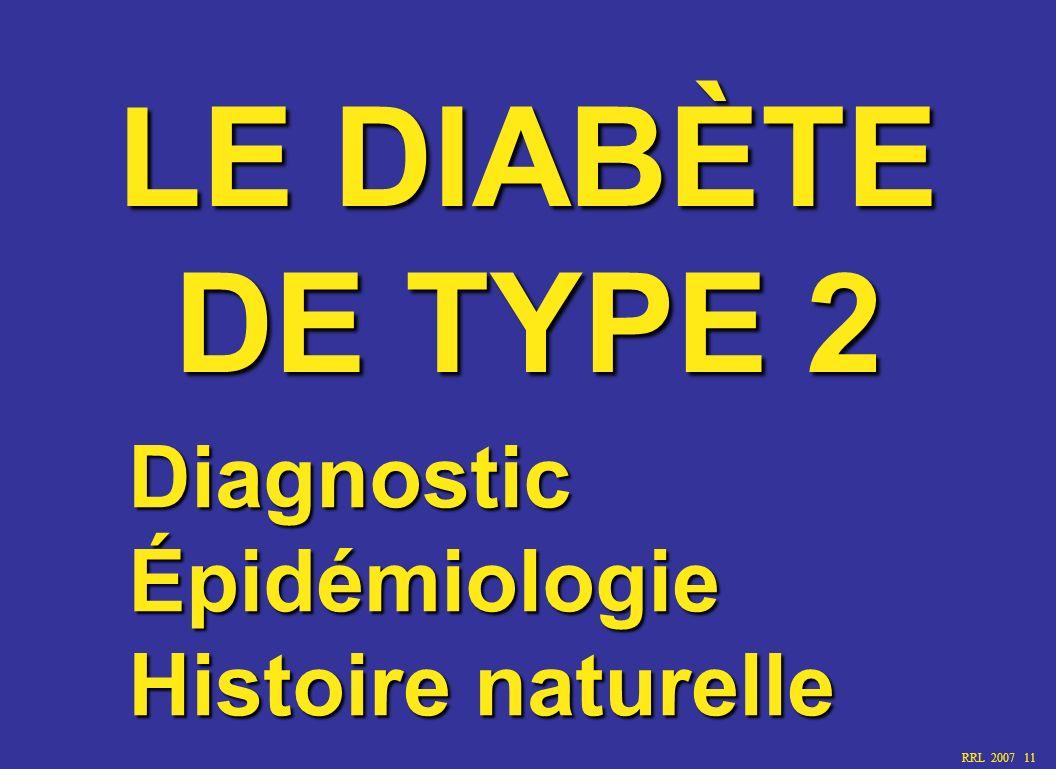 RRL 2007 11 LE DIABÈTE DE TYPE 2 Diagnostic Épidémiologie Histoire naturelle