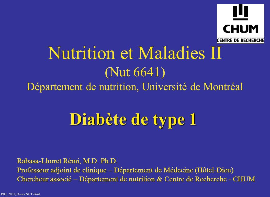 RRL 2003, Cours NUT 6641 Types de diabète Diabète de type 1 (10%) –Jeunes –Auto-Immun –Destruction des cellules insulinorequérance constante Diabète de type 2* (90%) –Plus âgés –Insulinorésistance –Insulinopénie Diabète gestationnel Autres –Endocrinopathies –Pancréatites, … * lutilisation dinsuline nest pas un critère pour classer les patients