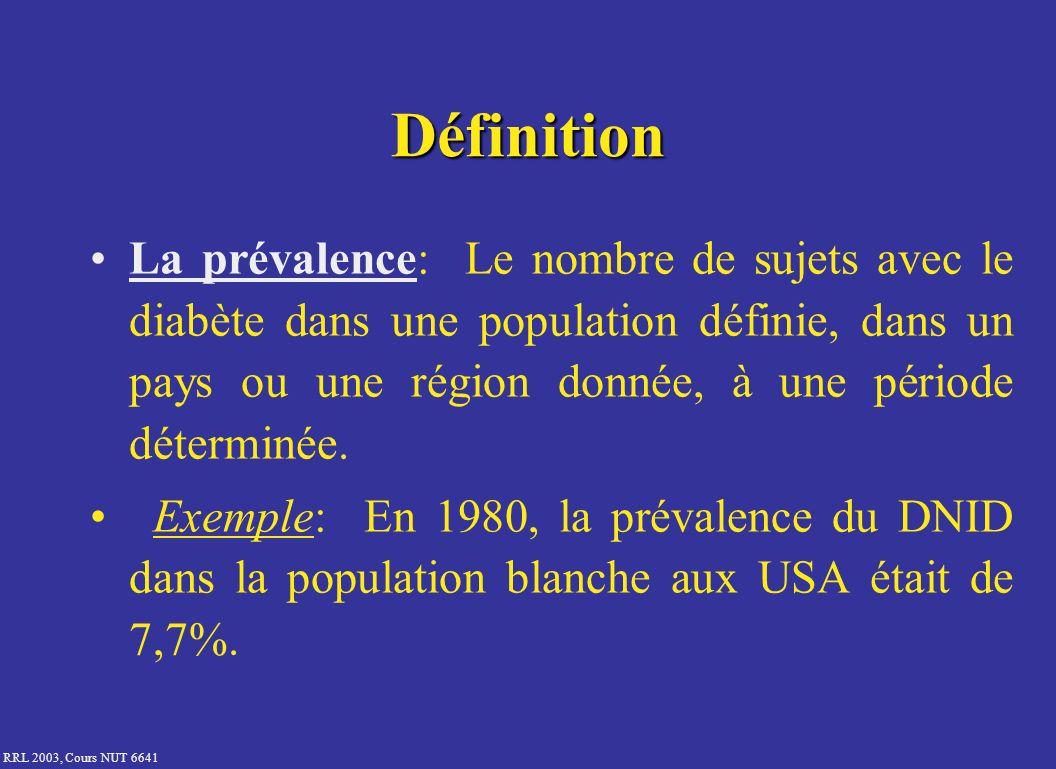 RRL 2003, Cours NUT 6641 Définition La prévalence: Le nombre de sujets avec le diabète dans une population définie, dans un pays ou une région donnée,