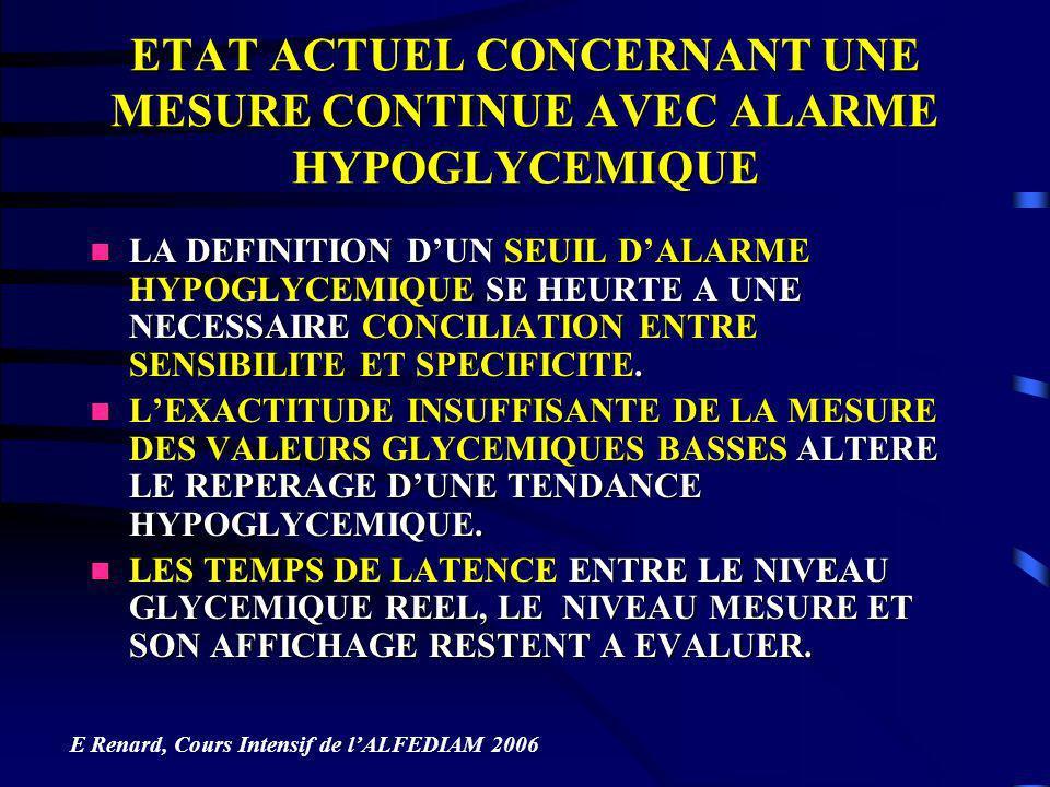 ETAT ACTUEL CONCERNANT UNE MESURE CONTINUE AVEC ALARME HYPOGLYCEMIQUE LA DEFINITION DUN SEUIL DALARME HYPOGLYCEMIQUE SE HEURTE A UNE NECESSAIRE CONCIL