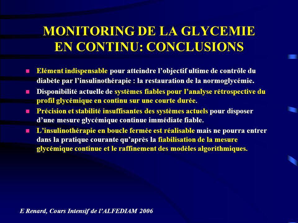 MONITORING DE LA GLYCEMIE EN CONTINU: CONCLUSIONS Elément indispensable pour atteindre lobjectif ultime de contrôle du diabète par linsulinothérapie :