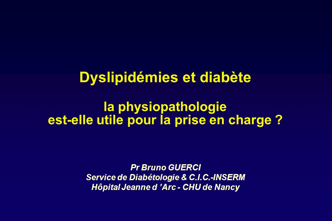 Profil lipidique à jeun des patients diabétiques de type 1 et 2 bien équilibrés
