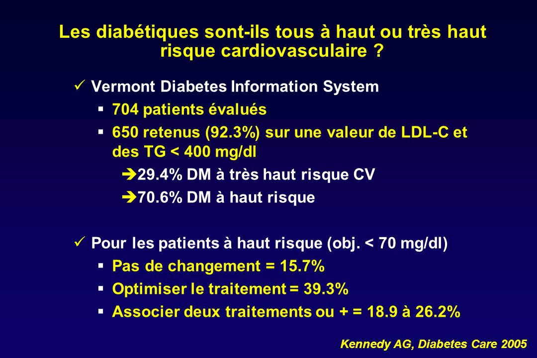 Les diabétiques sont-ils tous à haut ou très haut risque cardiovasculaire ? Vermont Diabetes Information System 704 patients évalués 650 retenus (92.3