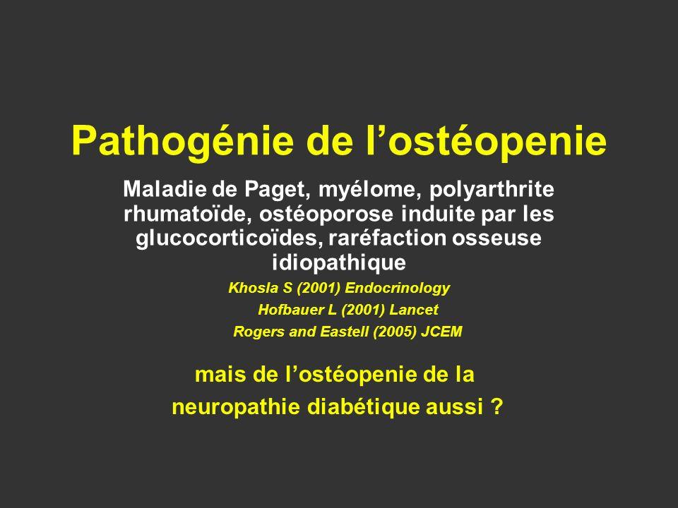 Maladie de Paget, myélome, polyarthrite rhumatoïde, ostéoporose induite par les glucocorticoïdes, raréfaction osseuse idiopathique Khosla S (2001) End