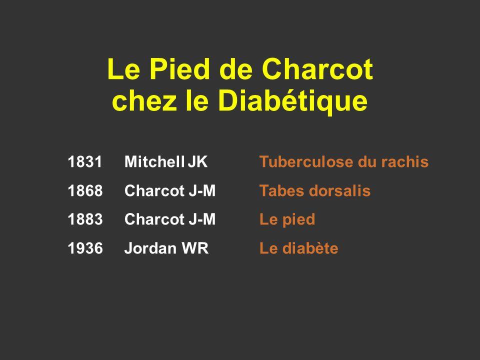 1831 Mitchell JKTuberculose du rachis 1868 Charcot J-MTabes dorsalis 1883 Charcot J-MLe pied 1936 Jordan WRLe diabète Le Pied de Charcot chez le Diabé