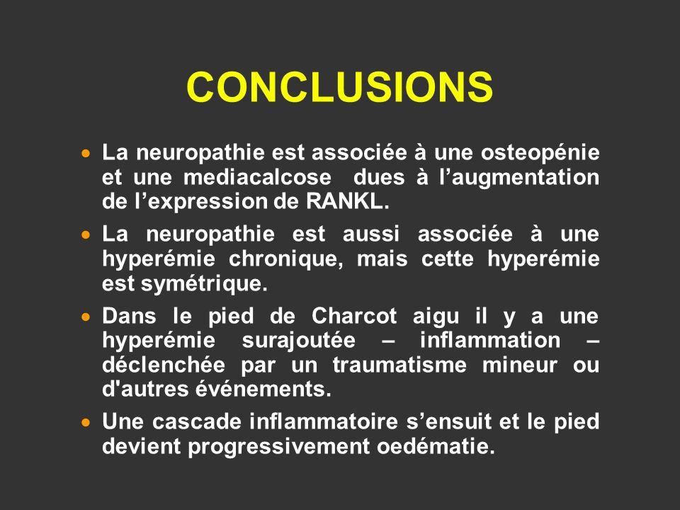 CONCLUSIONS La neuropathie est associée à une osteopénie et une mediacalcose dues à laugmentation de lexpression de RANKL. La neuropathie est aussi as