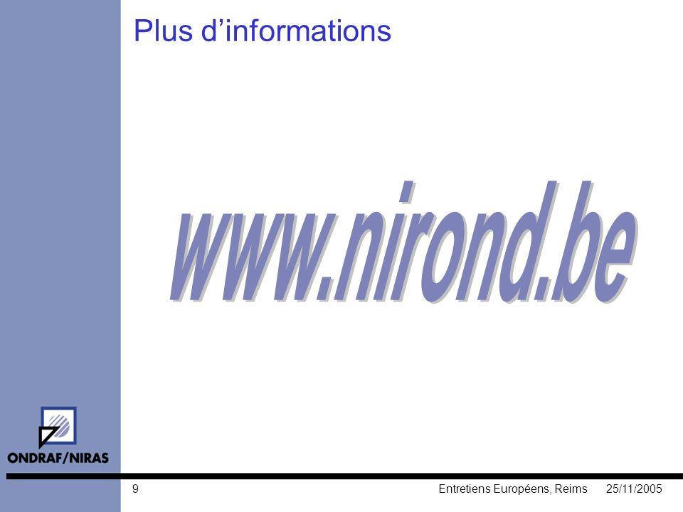 925/11/2005Entretiens Européens, Reims Plus dinformations