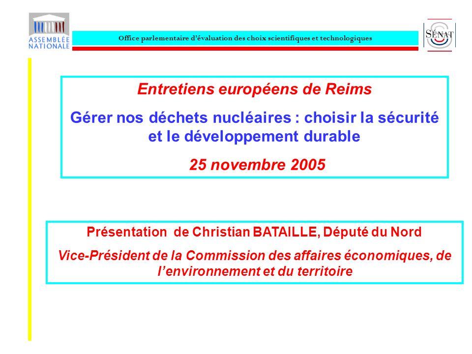 Office parlementaire dévaluation des choix scientifiques et technologiques Entretiens européens de Reims Gérer nos déchets nucléaires : choisir la séc