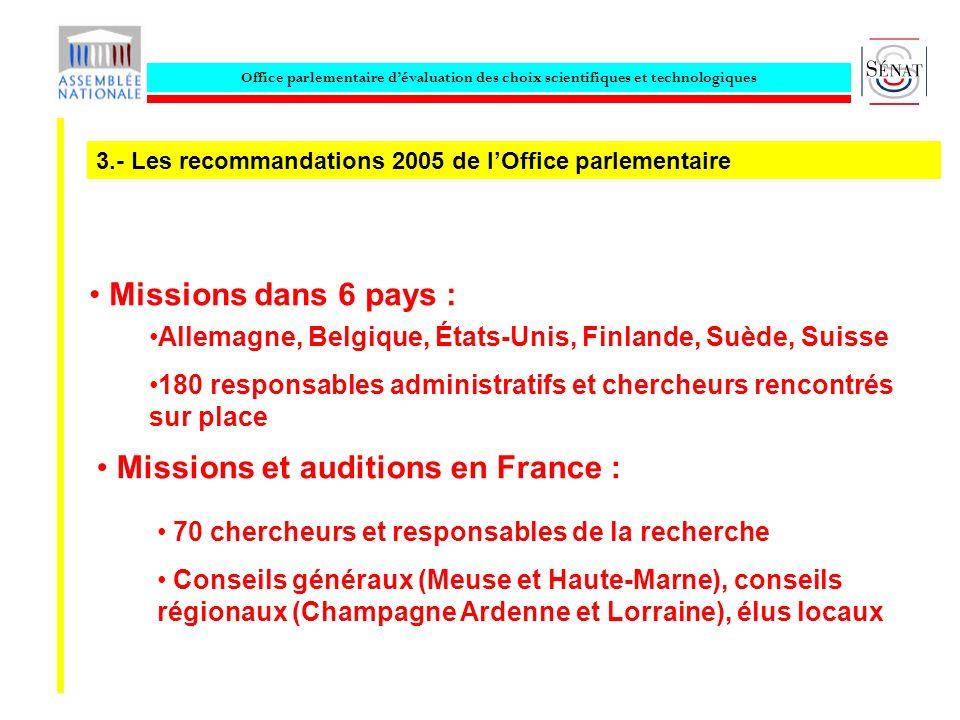 Office parlementaire dévaluation des choix scientifiques et technologiques Missions dans 6 pays : Allemagne, Belgique, États-Unis, Finlande, Suède, Su